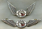 Stunning And Minty Ca 1950 Viking Air Lines Pilot Wing And Hat Badge