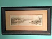 Antique Fresh Horses Etching By William Carry Signed