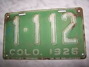 Rare Numbers Vintage 1926 Colorado License Plate 1112 Green Base 4 Digit