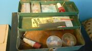 Union Utility Chest - Steel Tackle Box W/2 Vtg Cork Bobbers + Lures