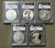 2011 Silver Eagle 5 Coin Set Pcgs First Strike Mercanti Ms Pr 69 Some Spots