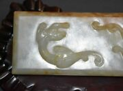 Finely Chinese Qing Dy Old Nephrite Jade Carved 2 Dragon Paperweight L 15.8 Cm