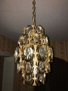 German Palwa Crystal Chandelier Gold Plated With Crystal Prisms Made In Germany