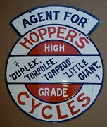 Hoppers 1915 Cycle Sign Porcelain Torpedo Antique Bicycle Vintage Motorcycle