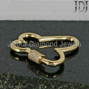 Butterfly 14k Yellow Gold Pave Diamond Carabiner Clasp Finding Lock Jewelry Gift