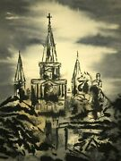 St. Louis Cathedral Andrew Jackson At Jackson Square Watercolor John Campbell
