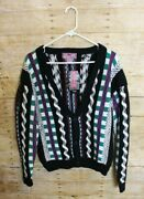 Concrete Mix Vintage 90and039s Chunky Knit Cardigan Adult L 16-18 Nwt