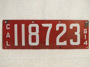 Antique 1914 California License Plate Porcelain Red White Ing-rich Mfg Co