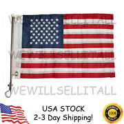 Boat Usa American Flag 12x18 Stainless Steel Ss Rail Mount Staff Pole Marine