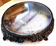 Ornate Antique Vintage Round Footed Tray Beveled Mirror Top Silver Pewter Large
