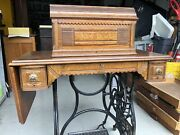 Beautiful Antique New Home Treadle Sewing Machine W/ Lid, Parts Box, And Manual,