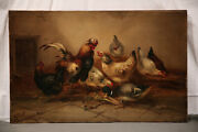 19th Century French Animal Antique Genre Painting With Chickens And Duck
