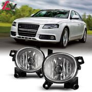 For Audi A4 09-12 Clear Lens Pair Bumper Fog Light Lamp Replacement