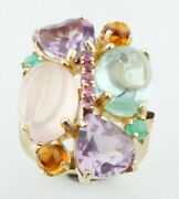 14k Yellow Gold Multi-gemstone Plaque Cocktail Ring Size 7.75 Unique