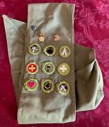 Vintage Boy Scout Sash With Merit Badges And Pins + Israeli Eternal Light Pin