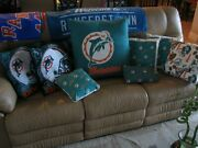 8 Vinate Miami Dolphins Pillows,rare Pillows Too, Different Sizes, Old Design