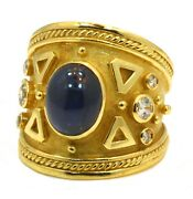 Natural Blue Sapphire And Diamond Vintage Ring 18k Yellow Gold