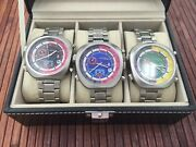 3 Sorna Automatic Watches Tachymeter Scale Nos-style In Collectors Box