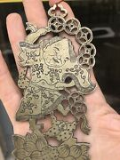 Rare 19th C. Chinese Pewter Plated Brass Paktong Hang Mosquito Net Holder Hook