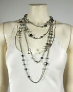 Silver Gray Pearl Stars Layered Chain Necklace Gift