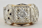 Vintage 14k White And Yellow Gold 32nd Degree Masonic Ring .90 Cttw Diamond S 11.5