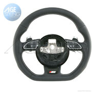 Oem Audi S4 B8 A5 Q3 Q5 Flat Bottom Leather Steering Wheel With Extended Paddles