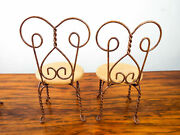 Vintage 1950s Miniature Table And Chairs Dolls Furniture Wood Metal Ice Cream Set