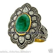 Victorian 5.35cts Rose Antique Cut Diamond Emerald Studded Silver Ring Jewellery