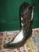 Menand039s Forastero 7.5 Med. Brown Needle-nose Western Boots Reptile Inlay Mexico
