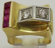 Vintage Late Art Deco Cocktail Ring Set With Rubies And Diamonds