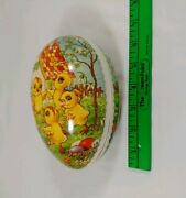 Vintage Paper Machee / Composition Cardboard Easter Egg Candy Container W/ Birds