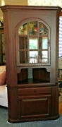 Kalanik Corner Hutch Deep Barn Red Excellent Condition Two Piece Price Reduced