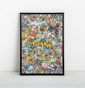 Pokemon Collage Poster | Framed Art | All Characters | Pikachu | New | Usa