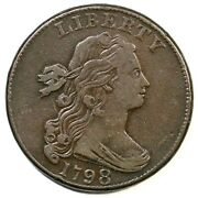 1798 S-165 R-4 Large 8 Draped Bust Large Cent Coin 1c