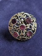Unique Antique Silver Buttons Set With Garnets From The Early 19th Century