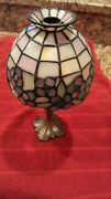 Partylite Style Stained Glass Votive Tealight Candle Lamp-weighed Base