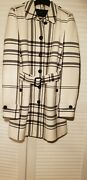 Black And White Striped Coat Above Knee Length.