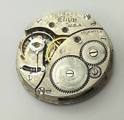 Vintage Elgin Usa 15 Jewel Pocket Watch Movement Grade 354 For Parts Only