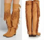 Womenand039s Vintage Tassel Fringe Layer Boots Flat Knee High Tall Boots Size 34-45