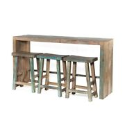 66 W Luther Console Table Solid Wood Modern Contemporary Distressed Blue