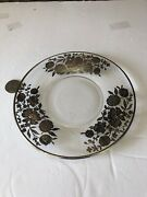 Beautiful Antique Glass Plate W/ Sterling Silver Inlay No Maker Marks Appox 6.5