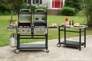 Barbecue Grill Hybrid Dual Fuel Combo Charcoal Or Gas 3 Stainless Steel Burners