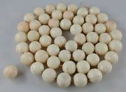 Antique Angel Skin Coral Necklace Beads Lot 11-12mm Chinese Carved Floral 54 Pc