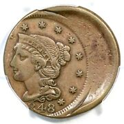 1848 Pcgs Xf 40 30 Off Center Braided Hair Large Cent Coin 1c