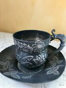 Antique Rockford Silver P. Co Exquisite Cup And Saucer Dragon Handle 1882 242