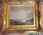 James Wilson 1818 – 1875 Antique Oil Painting Stormy Sea Nautical Sailboat.