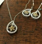 H.l. Lang Diamond And Yellow Sapphire Necklace And Earring Set