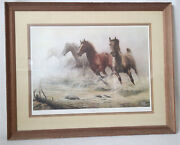 Rare Chuck Dehaan Crossing Horse Creek 1984 Signed And Numbered 18 3/4 X 25