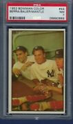 1953 Bowman Color No. 44 Mickey Mantle With Berra And Bauer Psa 7 Near Mint