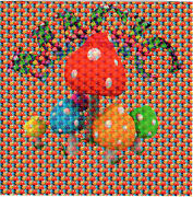 Magic Mushroom Blotter Art Perforated Sheet Paper Psychedelic Art Page
